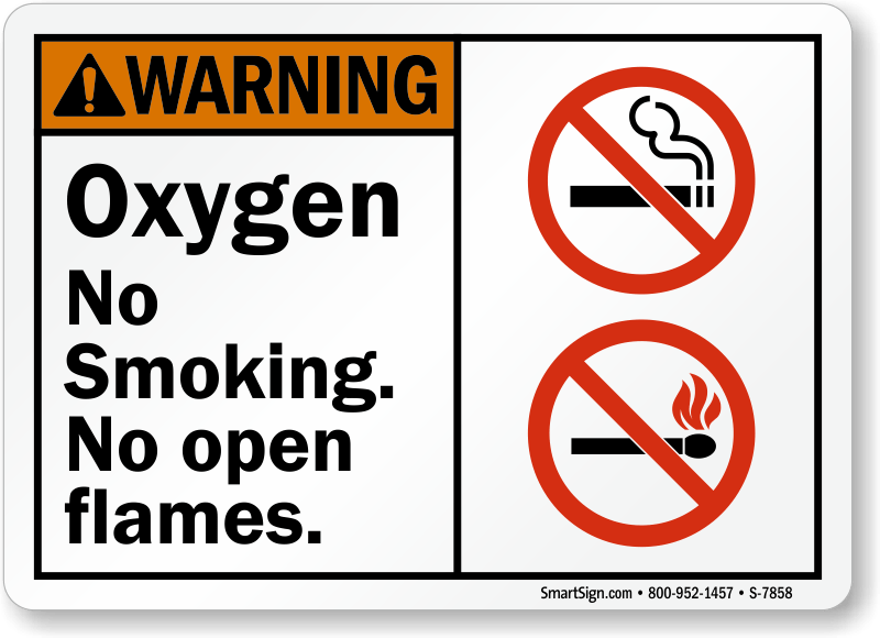Oxygen No Smoking. No Open Flames Sign, SKU: S-7858