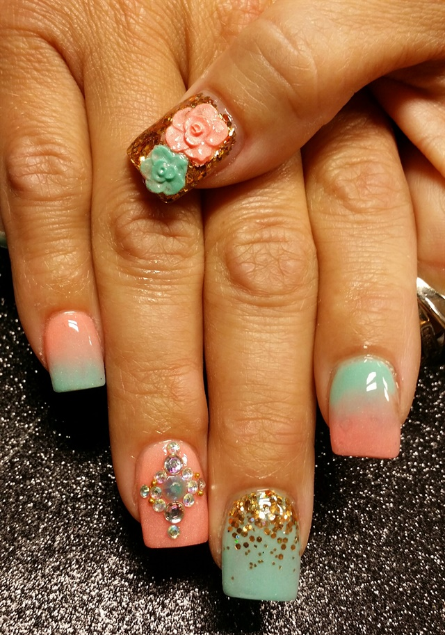 Peach Color Caviar Nail Art