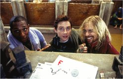 Mos Def, Martin Freeman and Simon Rockwell in the Hitchhiker's Guide movie