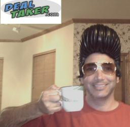 Neal of DealTaker.com, drinking coffee