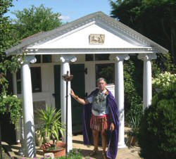 Tony in Berkshire UK's award-winning Roman shed