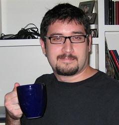 Todd, drinking coffee