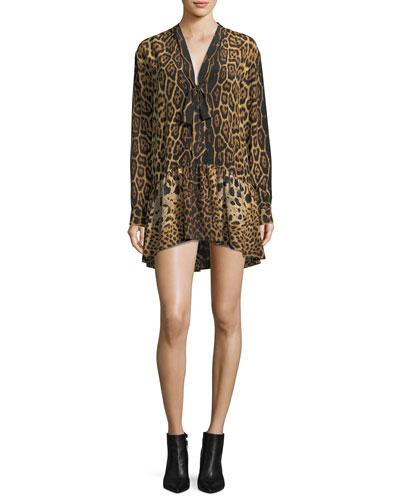 Saint Laurent Leopard Silk Babydoll Dress with Necktie