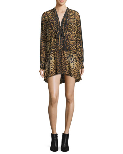 Saint Laurent Leopard Silk Babydoll Dress with Necktie