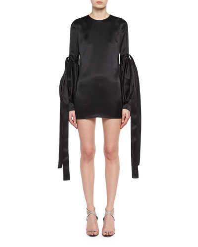 Saint Laurent Satin Tie-Sleeve Shift Dress