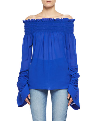 Saint Laurent Silk Georgette Off-the-Shoulder Top