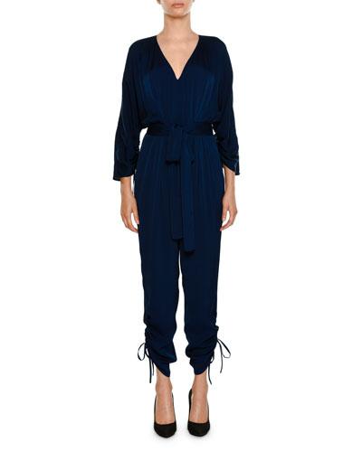 Stella McCartney V-Neck Side-Ties Belted Tapered-Leg Jumpsuit