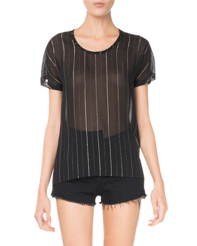 Saint Laurent Round-Neck Metallic-Striped Sheer T-Shirt