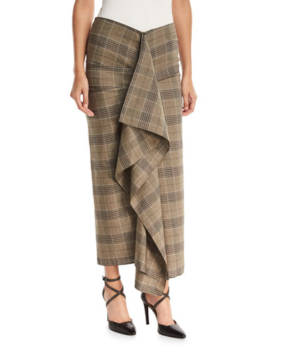 Brunello Cucinelli Prince of Wales Check Large Ruffle Fitted Skirt