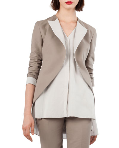 Akris Open-Front Cotton-Silk Tuxedo Jacket
