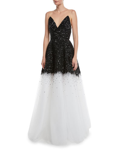 Oscar de la Renta Sleeveless V-Neck Paillette Embroidered Tulle Evening Gown