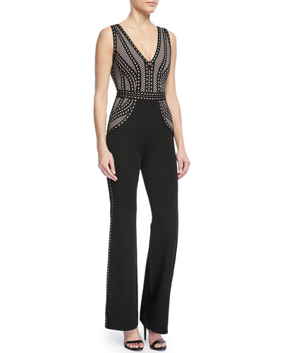 Herve Leger Deep-V Sleeveless Straight-Leg Jumpsuit
