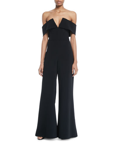 Cushnie Et Ochs Off-the-Shoulder V-Neck Wide-Leg Palazzo Stretch-Cady Jumpsuit