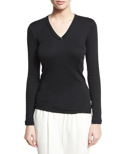 Brunello Cucinelli Monili-Trim V-Neck Top