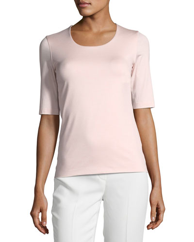 Akris Round-Neck Elbow-Sleeve Fitted Stretch-Jersey Top