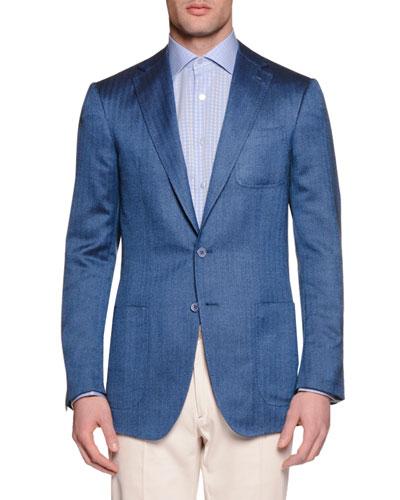 Stefano Ricci Wool-Silk Two-Button Sport Coat, Blue