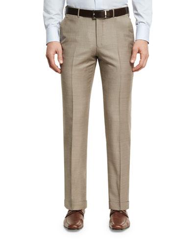 Ermenegildo Zegna Sharkskin Wool Flat-Front Trousers, Tan