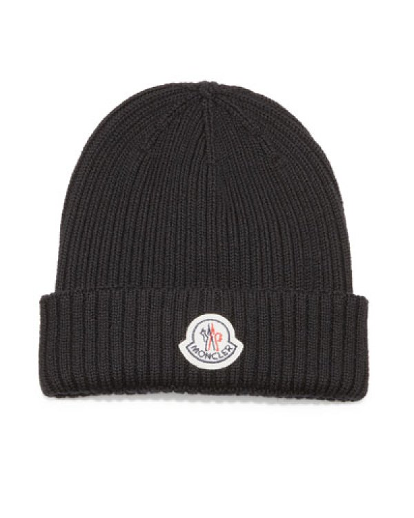 Moncler Cashmere Ribbed-Knit Beanie Hat in Black