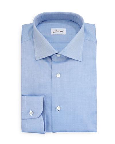 Brioni Diagonal Twill Dress Shirt, Blue