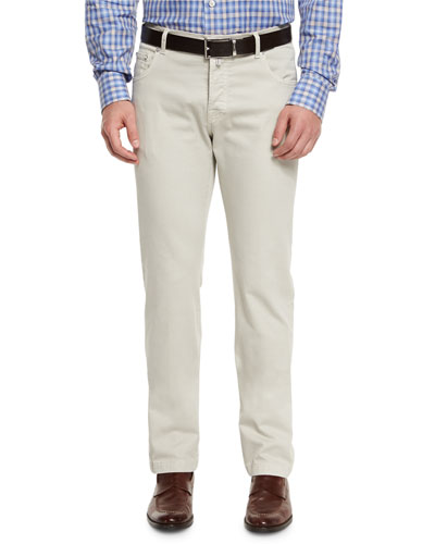 Kiton Twill Five-Pocket Pants, Tan