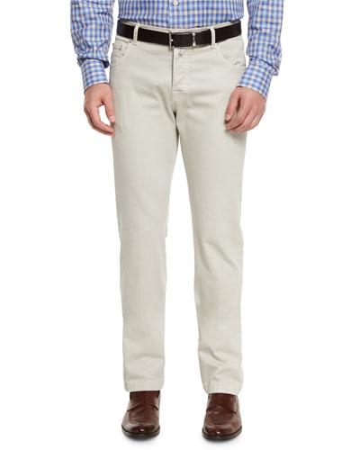 Kiton Twill Five-Pocket Pants, Tan