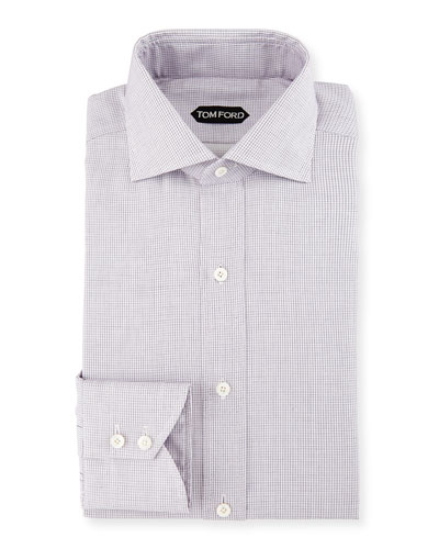 TOM FORD Tiny-Dot Striped Slim Dress Shirt, Pink