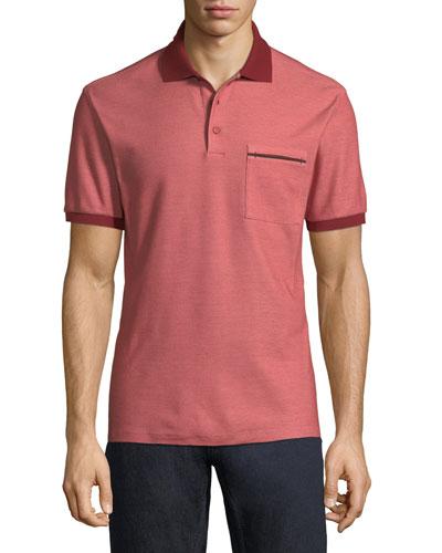 Ermenegildo Zegna Contrast-Trim Pique Polo Shirt, Red