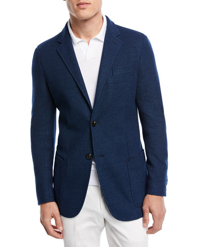 Ermenegildo Zegna Denim Cotton Jersey Two-Button Jacket