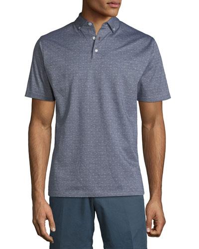 Peter Millar Flats Jacquard Short-Sleeve Polo Shirt, Dark Blue