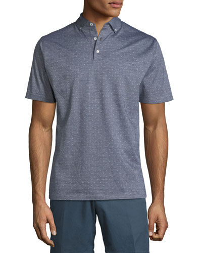 Peter Millar Flats Jacquard Short-Sleeve Polo Shirt, Dark Blue