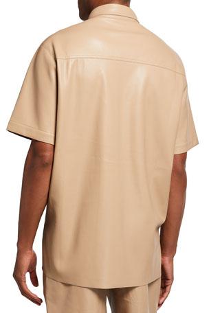 Nanushka Men's Adam Vegan-Leather Sport shirt
