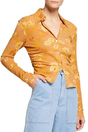 Nanushka Felda Floral Button-Down Shirt
