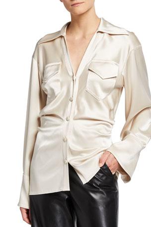 Nanushka Dale Satin Button-Down Shirt