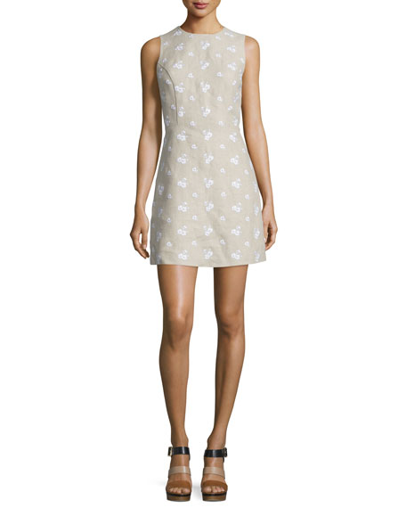 MICHAEL Michael Kors Sleeveless Floral Embroidered Linen