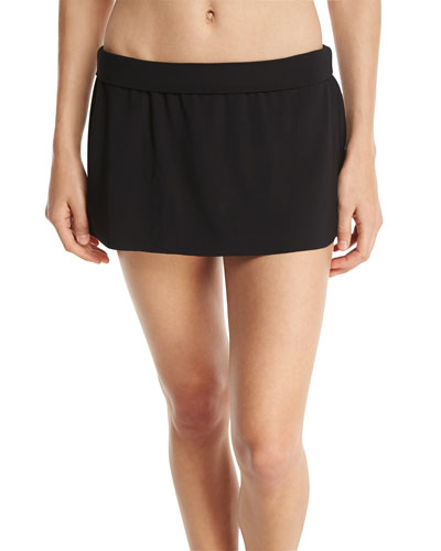 Basic Solid Skirted Swim Bikini Bottom, Black, Plus Size