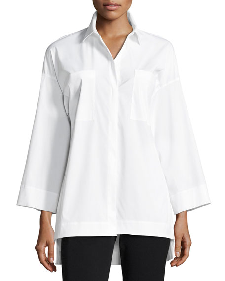 Lafayette 148 New York Hensley Stretch Cotton Blouse