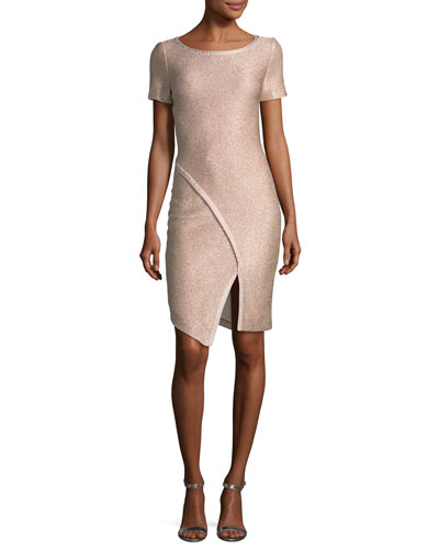 St. John Collection Frosted Metallic Knit Cocktail Dress