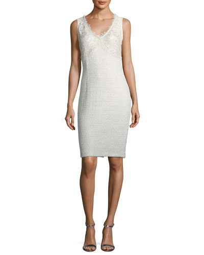 St. John Collection Soft Metallic V-Neck Cocktail Sheath Dress