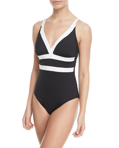 Modern Muse V-Neck Cutout-Back One-Piece Swimsuit, Plus