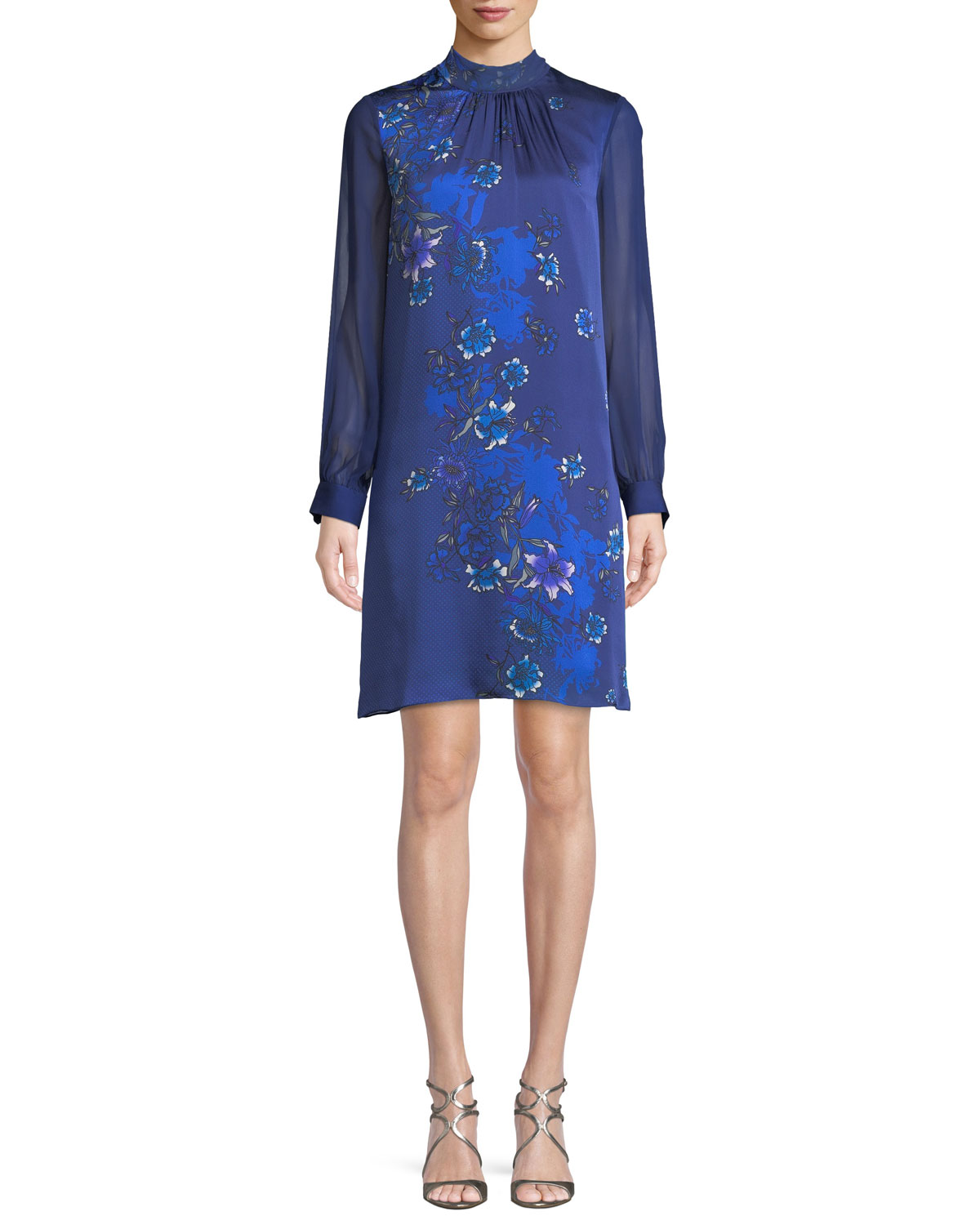 Elie Tahari Malaysia Floral Print Long Sleeve Silk Dress