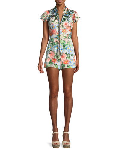Alice + Olivia Macall Short-Sleeve Floral-Print Romper