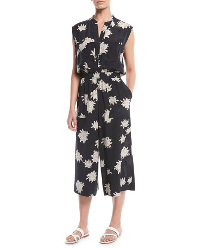 Vince Silk Chrysanthemum Sleeveless Cropped Jumpsuit