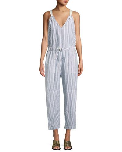 Rag & Bone Ellen Striped Belted Jumpsuit