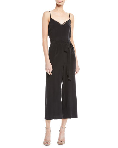 L'Agence Dia Silk Wide-Leg Cropped Cami Jumpsuit