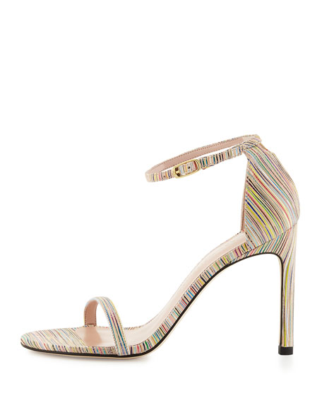 Nudistsong Striped Ankle-Wrap Sandal, Bisque