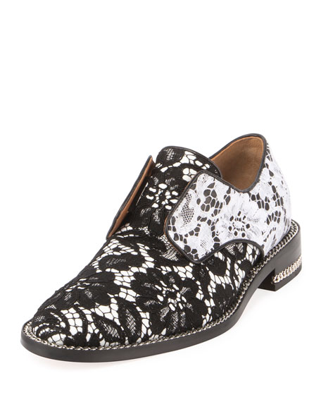 Two-Tone Floral Lace Derby, Black/White