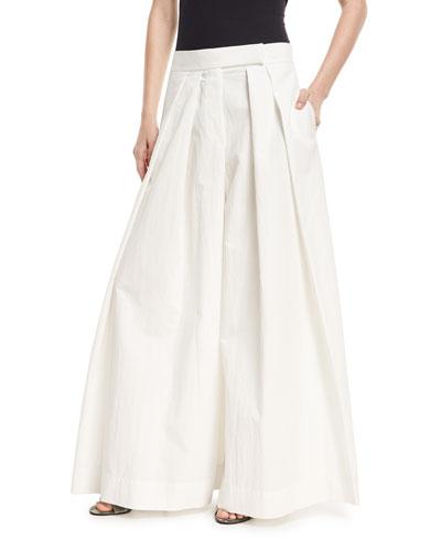 Brunello Cucinelli Pleated Wide-Leg Cotton-Blend Skirt-Pants