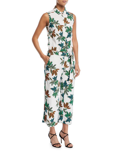Akris punto Sleeveless Button-Front Cropped Wide-Leg Jumpsuits