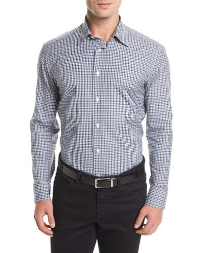 Brioni Long-Sleeve Check Sport Shirt