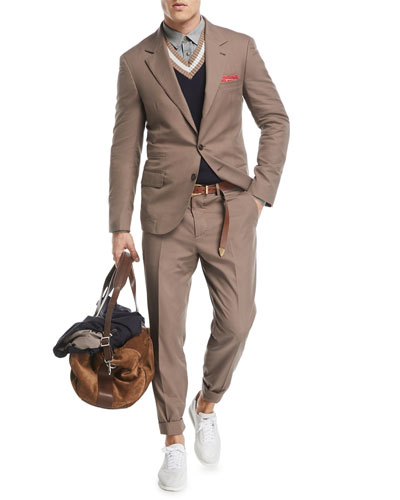 Brunello Cucinelli Peak-Lapel Two-Button Cotton Suit